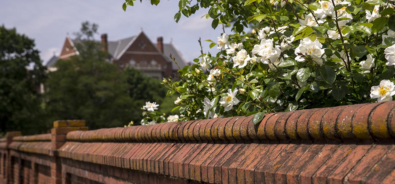 Randolph's iconic Red Brick Wall on front campus